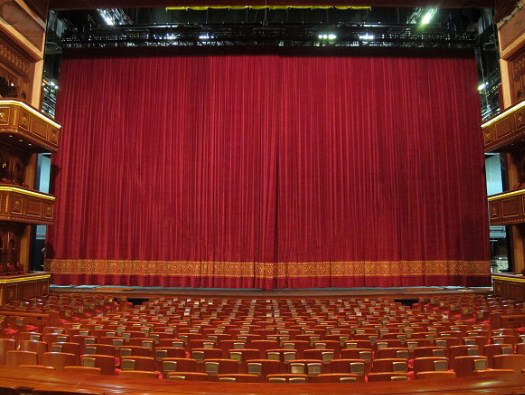 telón de teatro fabricado con terciopelo ignifugo m1