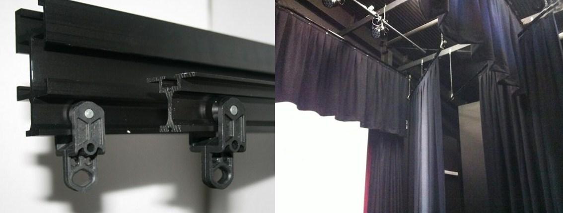 instalación de telones para teatros con rieles reforzados